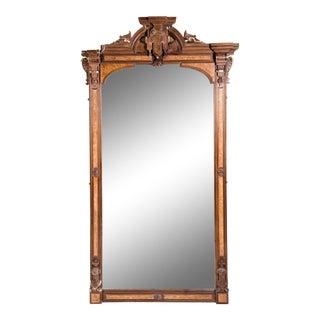 Antique Victorian Burlwood Pier Mirror For Sale