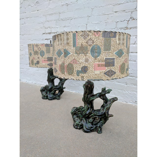 A Pair of Mid Century Modern Ceramic Stump Lamp With Printed Fiberglass Shade - Image 5 of 6
