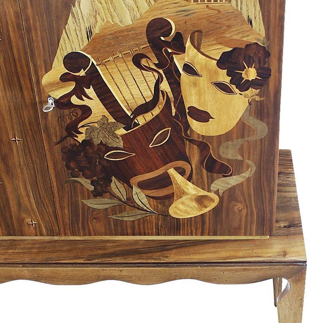 Wood 1940´s Small Two Blocks Dry Bar, walnut, allegorical scene marquetry - Italy For Sale - Image 7 of 9