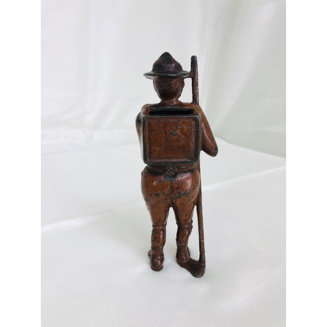 Americana Antique Cast Iron Boy Scout Coin Bank For Sale - Image 3 of 11