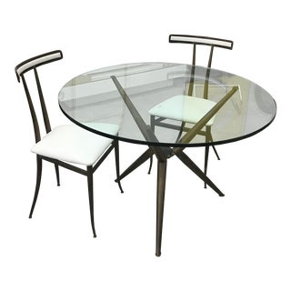 1970s Mid-Century Modenr Brass Dining Set - 3 Pieces For Sale