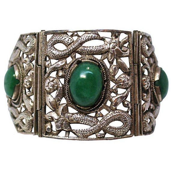 Sterling China Circa 1940s Chinese Sterling & Serpentine Bracelet For Sale - Image 4 of 4