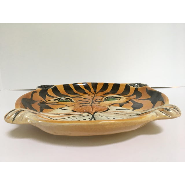 Ceramic Mid Century Italian Hand Painted Striped Tiger Platter For Sale - Image 7 of 13