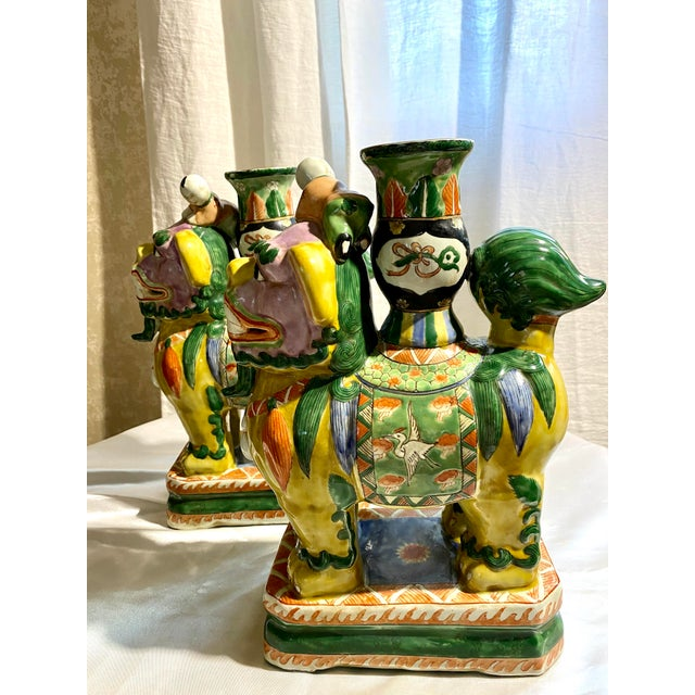 Chinese Foo Dog Candlesticks - a Pair For Sale - Image 11 of 13