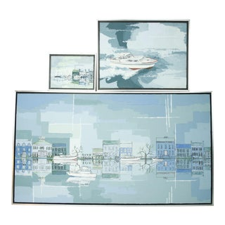 1950s Vintage Lisa Forster Oil on Canvas Boat Scene Paintings - Set of 3 For Sale