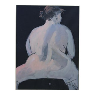 1990s Arno Sternglass Stephanie Straddling Bench Nude Gouache on Black Paper Drawing For Sale