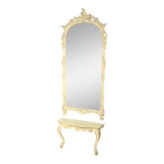 Carved Medium Size, Antique Pier Mirror with Small Console Table For Sale