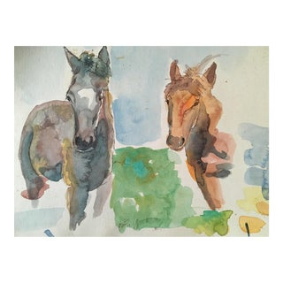 Two Ponies Watercolor by California Artist For Sale