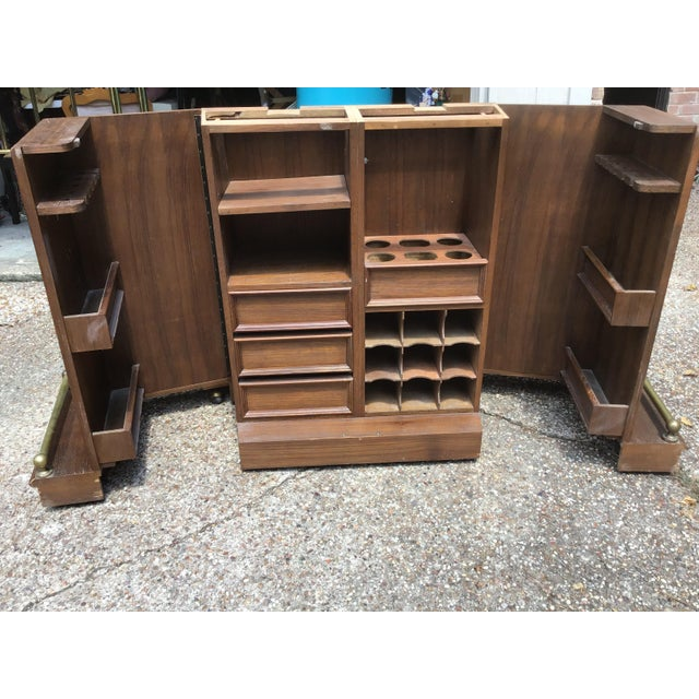 19th Century Vintage Carved Chinese Oriental Style Folding Expandable Bar Cabinet For Sale - Image 5 of 12