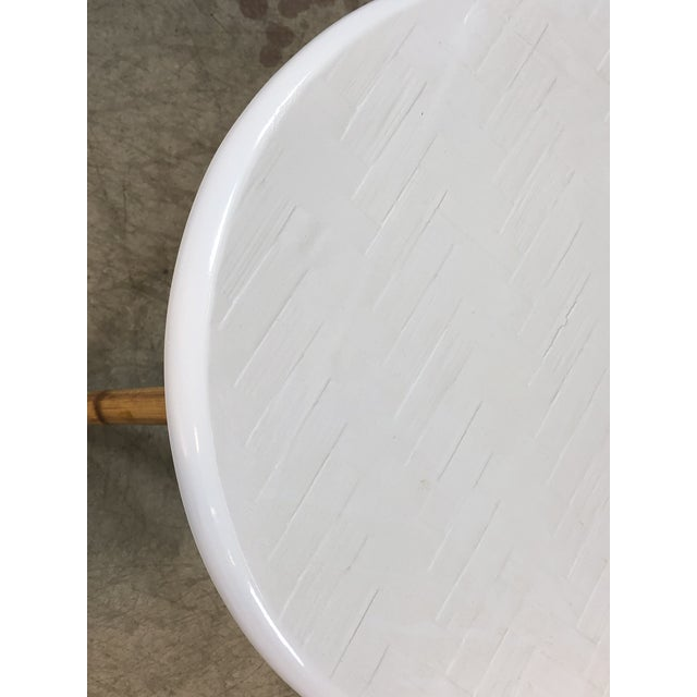 1960s 1960s Round Fiberglass & Burnt Bamboo Side Table For Sale - Image 5 of 6