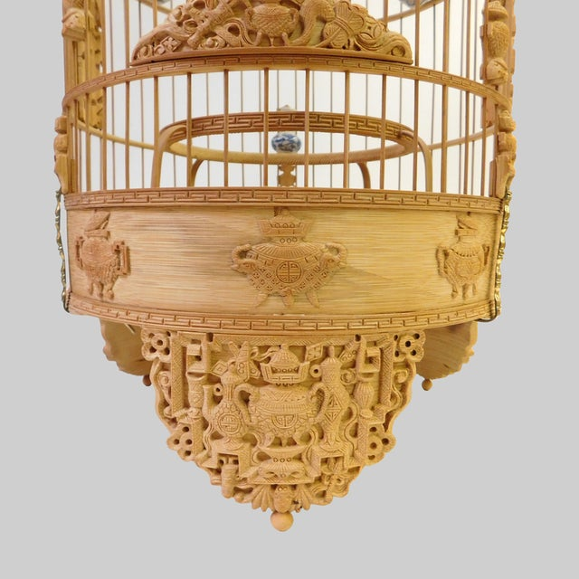 Shabby Chic Bamboo Floral Carved Birdcage For Sale - Image 3 of 9