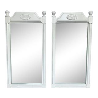 Pair of White Lacquered Faux Bamboo Mirrors For Sale