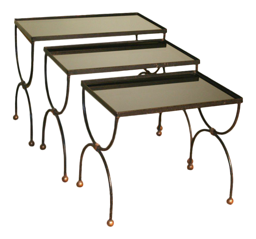Mid Century French Nesting Tables With Glass Tops In The Style Of Jean  Royère