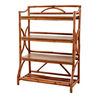 Mid-Century Modern Rattan Book Shelf For Sale