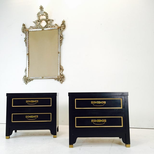 Black Regency Style Nightstands - Pair - Image 2 of 3