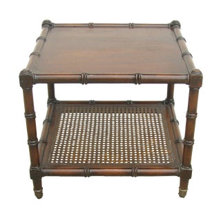 Vintage Faux Bamboo & Cane Accent Table