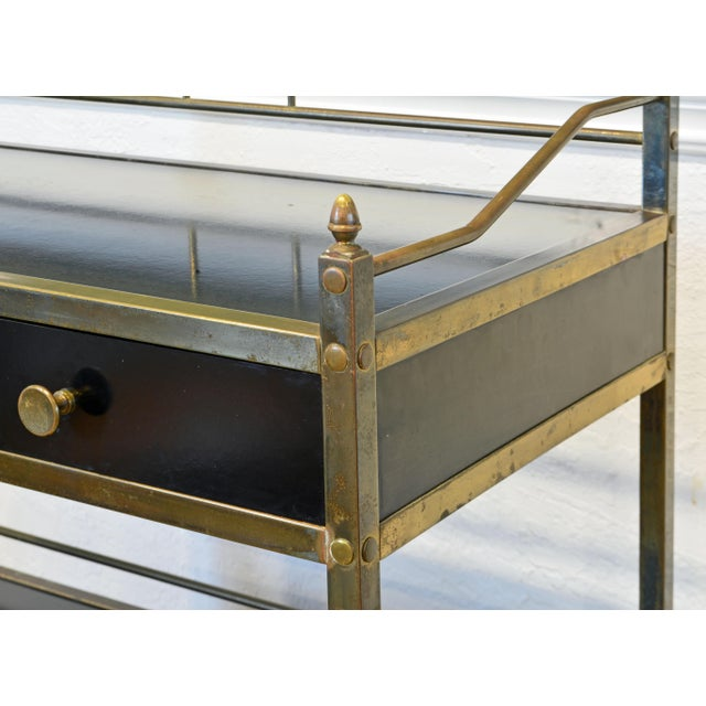 Mid 20th Century Midcentury Two-Tier Brass and Black Laminate Bar Cart by Maxwell Phillips, Ny For Sale - Image 5 of 13