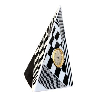 Checkered Porcelain Obelisk Clock by Freiberger For Sale