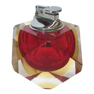 Red Faceted Sommerso Lighter by Mandruzzato For Sale