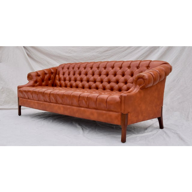 Swedish Leather Chesterfield Sofa For Sale - Image 4 of 13