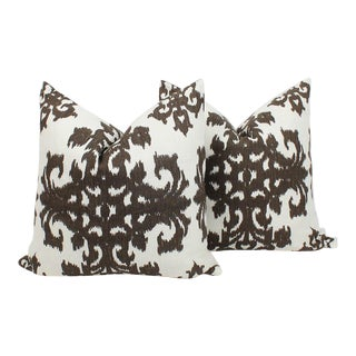 Chocolate Brown and Ivory Ikat Linen Pillows, Pair For Sale