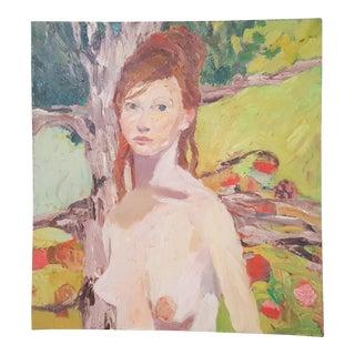 1990s Original Palette Espatula Oil on Canvas Portrait Painting For Sale
