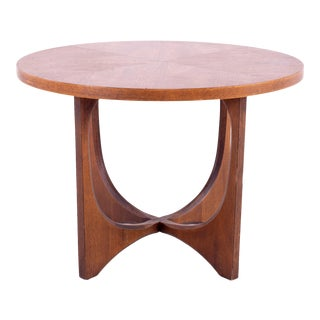 Mid Century Broyhill Brasilia Round Brutalist Walnut Side End Table For Sale