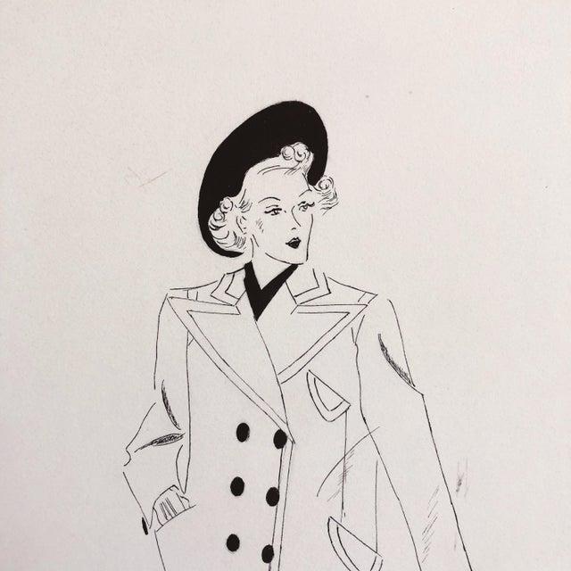 "Vintage fashion sketch by ""June Shelton, 9-13-49, Palestine, Texas."""