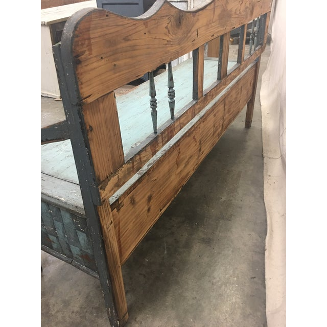 19th C Scandinavian Painted Hall Bench With Storage For Sale - Image 11 of 11