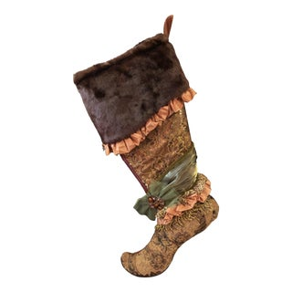 Large Gold & Brown Festive Holiday Fireplace Stocking For Sale