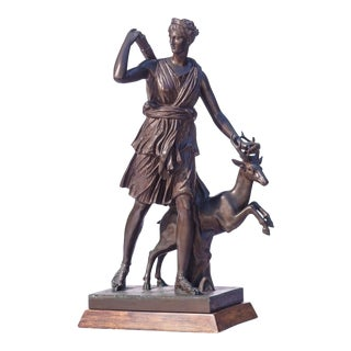 19th C. French Bronze Statue of Diana the Huntress For Sale