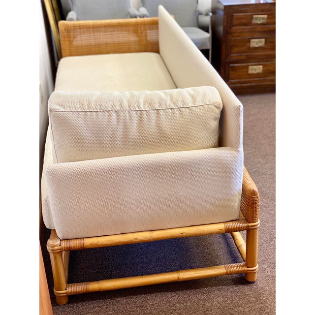 1960s Bamboo and Rattan Reupholstered Daybed For Sale - Image 9 of 12