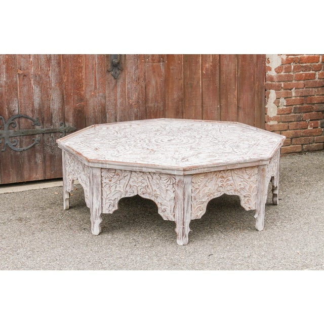 Islamic Grand White-Washed Moorish Carved Octagonal Coffee Table For Sale - Image 3 of 9