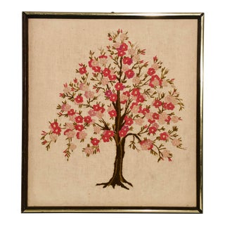 1970s Stitched Vintage Cherry Tree Blossoms Textile Art For Sale
