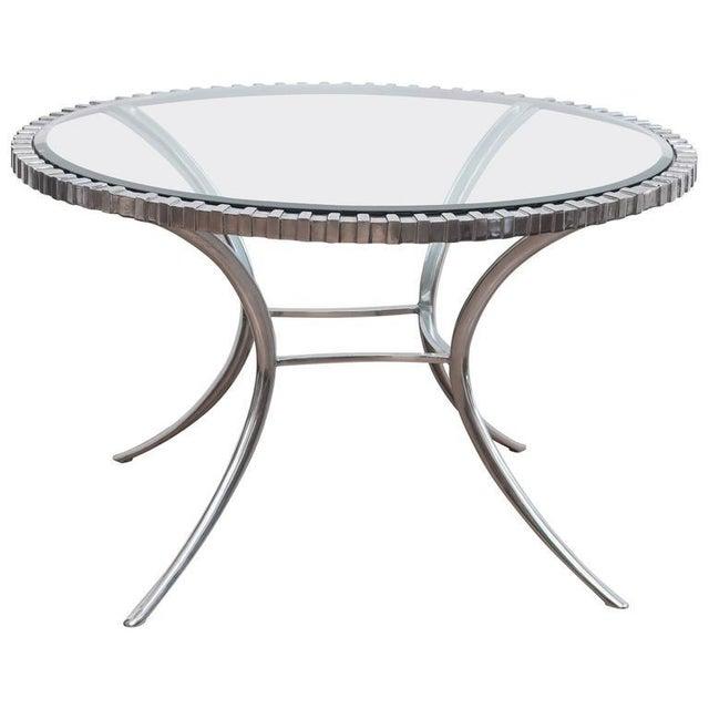 Thinline Polished Aluminum Klismos Table For Sale - Image 9 of 9