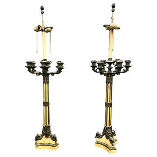 19th Century Large French Empire Bronze Siena Marble Candelabra Lamps - a Pair For Sale