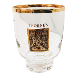 1960's Gold Rimmed Thorne Scotch Lowball Glass For Sale