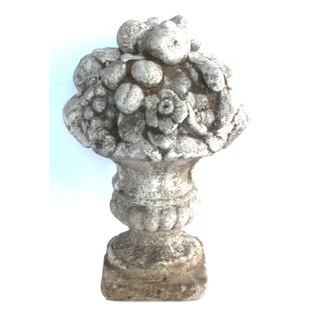 A Charming English Neoclassical Style Cast Stone Urn With Floral and Fruit Bouquet For Sale In San Francisco - Image 6 of 6