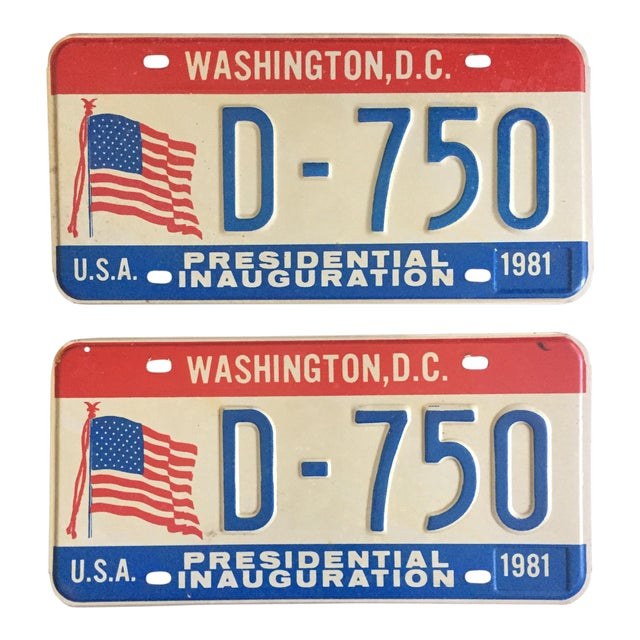 Presidential Inauguration License Plates 1981 - A Pair - Image 1 of 6