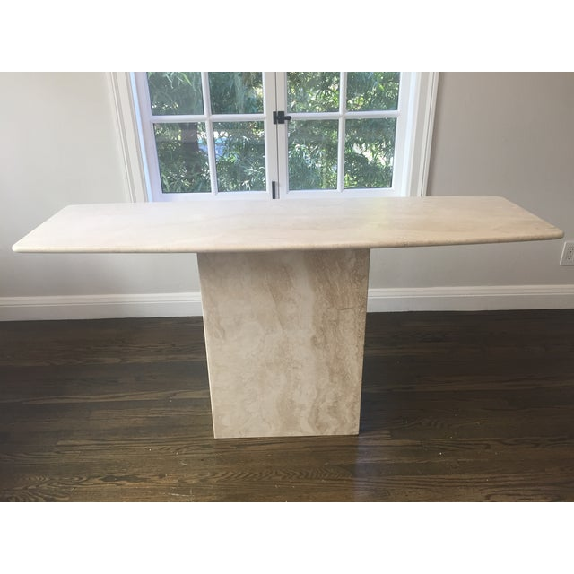 Italian Travertine Marble Console Table - Image 2 of 8