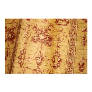 Antique Rococo Hand Block Printed Floral & Striped Curtains - a Pair For Sale