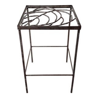 Hand Wrought & Welded Metal Side Table For Sale