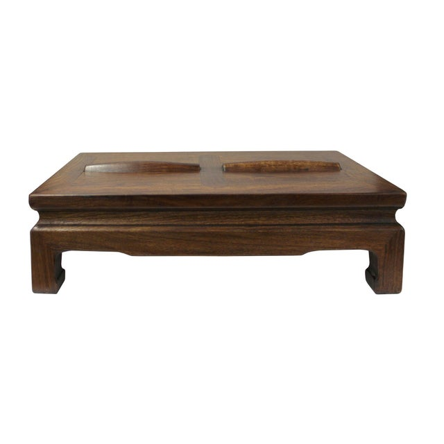 Brown Rosewood Simple Oriental Rectangular Rolling Bar Footrest Table For Sale - Image 5 of 7