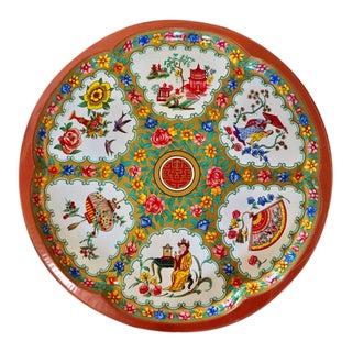 Vintage Daher Oriental Floral Tray For Sale