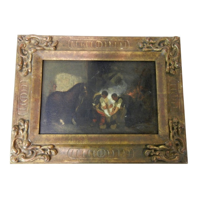 Antique Spanish Oil on Canvas Painting of Blacksmiths in Antique Carved Wooden Frame For Sale