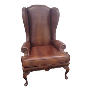 Mid-Century Vintage Brown Wing Back Chair