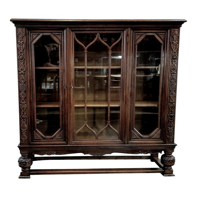 Antique French Renaissance Revival Carved Oak Glazed Bookcase For Sale