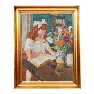 Framed Portrait of a Schoolgirl Painting by Henning Jorgensen, 1924 For Sale