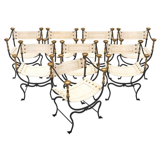Italian Renaissance Style Set of Eight Armchairs For Sale - Image 11 of 11