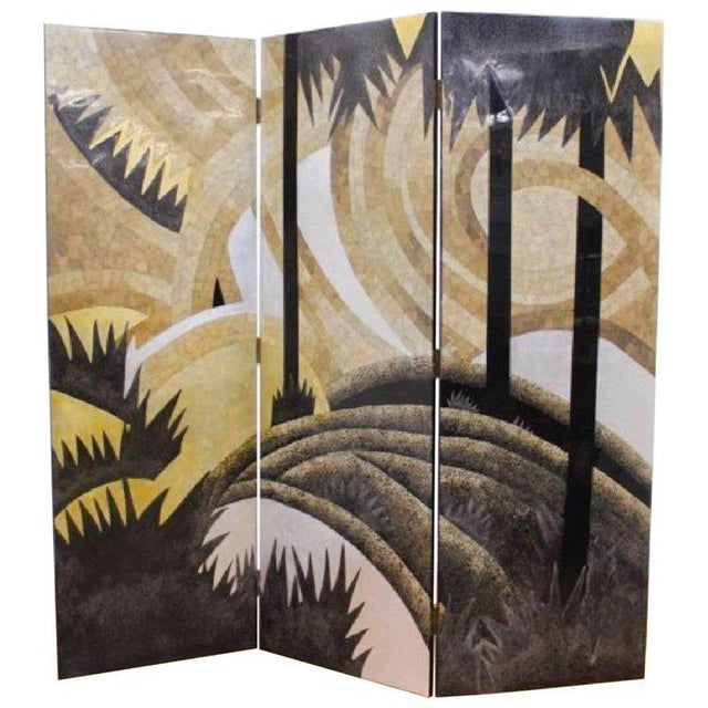 Lacquer Art Deco Style Egg Shell Lacquer Three-Panel Screen in the Manner of Jean Dunand For Sale - Image 7 of 7